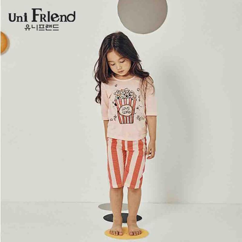 Nơi bán Đồ bộ mặc nhà bé gái Unifriend thun lửng hoạ tiết dễ thương U9SSTL19