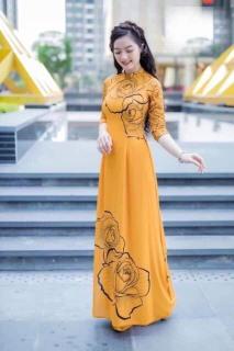 Áo dài truyền thống in hoa hồng cao cấp - KHÔNG KÈM QUẦN thumbnail
