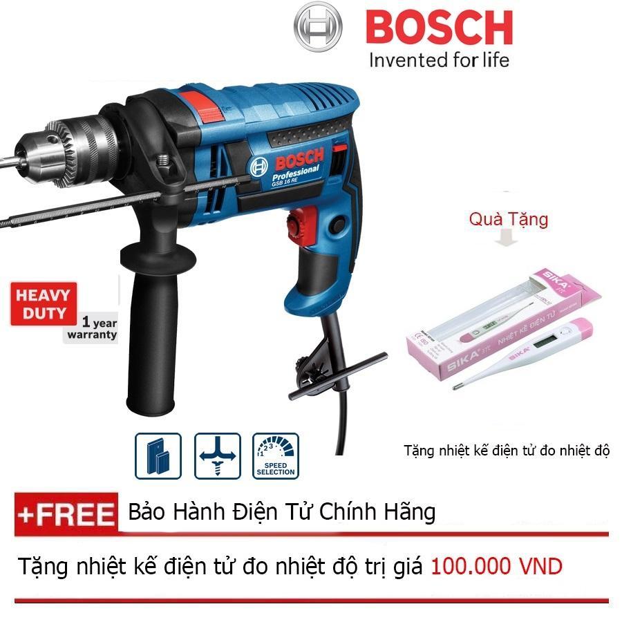 Máy khoan động lực Bosch GSB 16 RE (Hộp nhựa)  + Quà tặng nhiệt kế điện tử