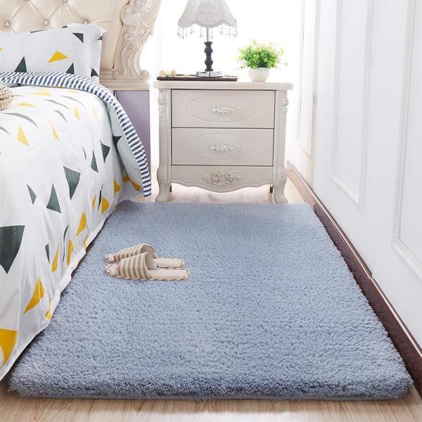 Thảm trải sàn phòng khách lông cừu màu Xanh xám 160x100cm - Dự kiến giao 24/6