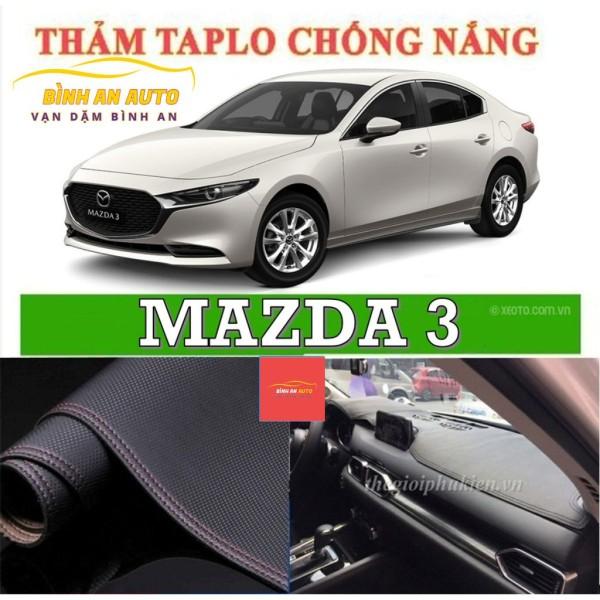 Thảm taplo MAZDA 3  2015-2020 da vân cacbon, thảm phủ taplo, taplo cacbon, taplo da - Bình An Auto
