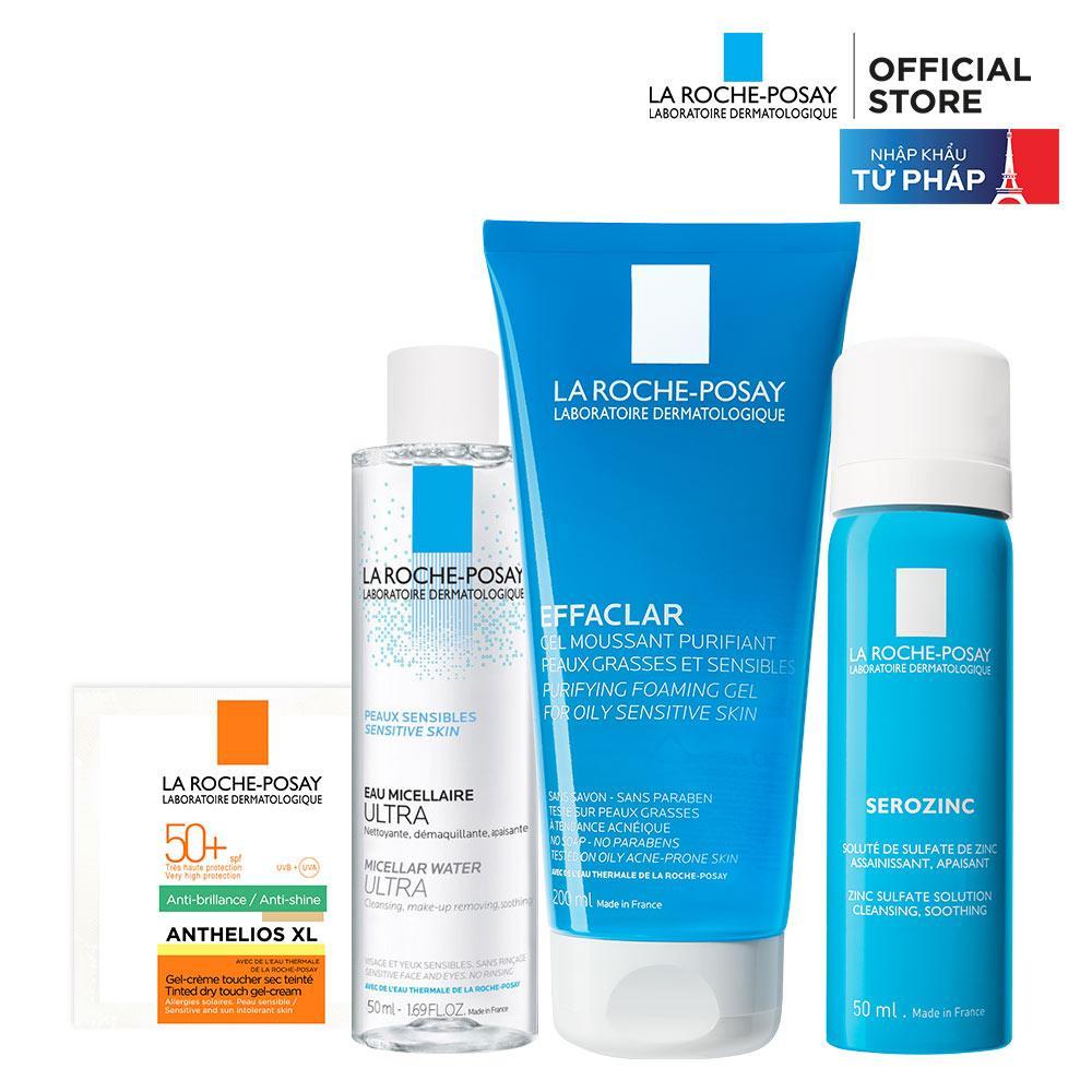 Bộ sản phẩm làm sạch và bảo vệ da dầu mụn La Roche Posay Effaclar Gel 200ML và xịt khoáng Serozinc 50ML