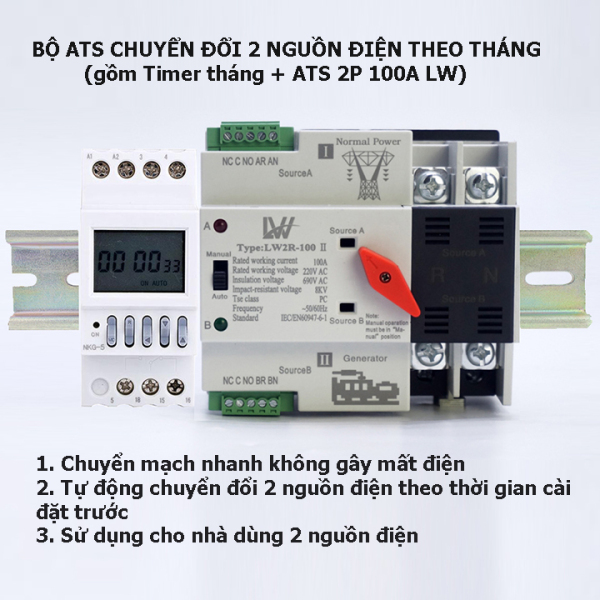 Combo bộ chuyển đổi 2 nguồn điện luân phiên 15 ngày trong tháng tự động không gây mất điện gồm Timer tháng NKG5 + ATS LW 100A: