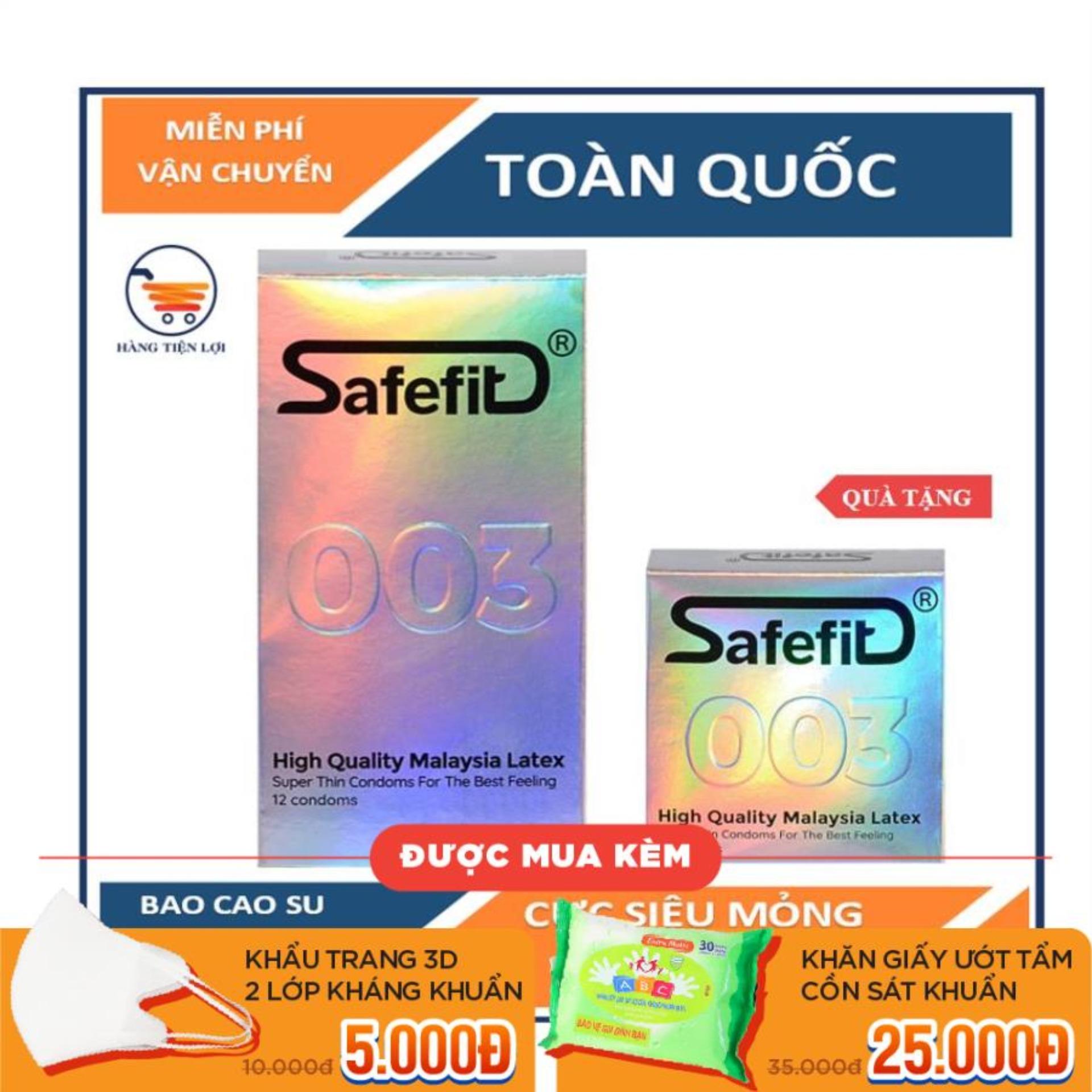 [ MUA LỚN TẶNG NHỎ ] Bao cao su cực siêu mỏng Safefit 0.029mm - 12 chiếc cao cấp