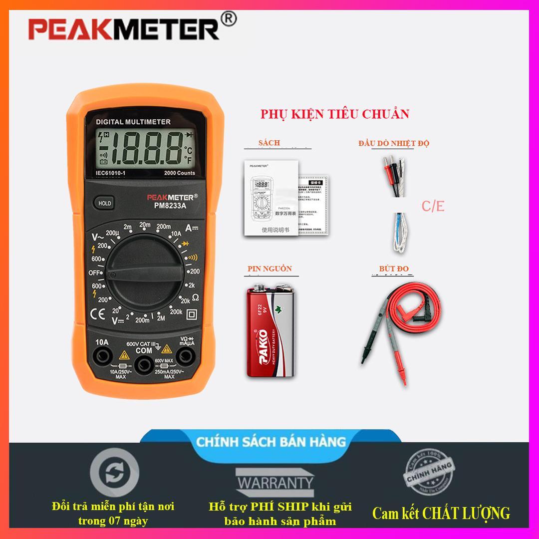 Đồng hồ vạn năng kỹ thuật số PEAKMETER PM8233A -chuyên nghiệp điện - kèm theo pin 9V