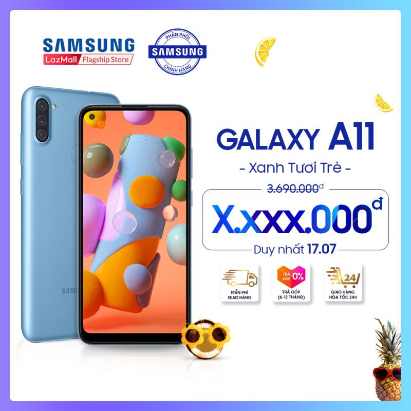 Điện thoại Samsung Galaxy A11 32GB (3GB RAM) - Màn hình tràn viền vô cực Infinity-O 6.4 inch - Sim kép - Pin 4000mAH - Hàng phân phối chính hãng.