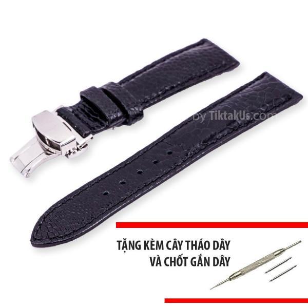 Dây đồng hồ nam da đà điểu thật kèm khóa bướm chống gãy dây Size 22mm - Tiktakus