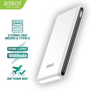 Sạc dự phòng ROBOT RT180 10000mAh thiết kế nhỏ gọn 1 cổng USB và 1 cổng Micro Type-C tặng dây sạc Micro - Hàng chính hãng thumbnail