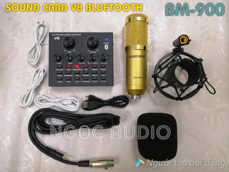 Bộ 2 món live stream sound card V8 Bluetooth và Micro BM-900