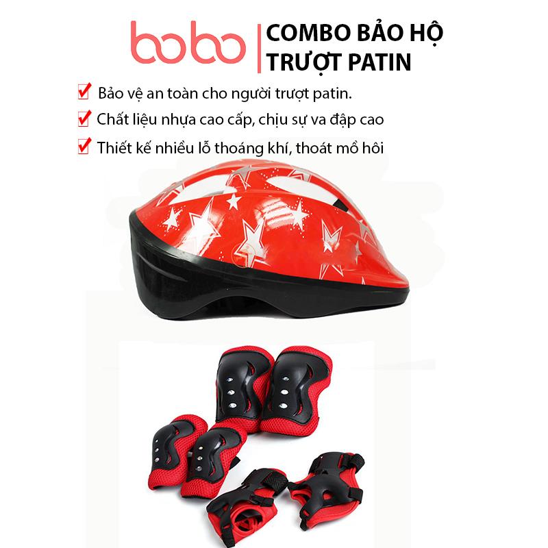 Mua COMBO đồ bảo hộ trượt patin BoBokids gồm mũ bảo hiểm và bộ bảo hộ 6 chi tiết