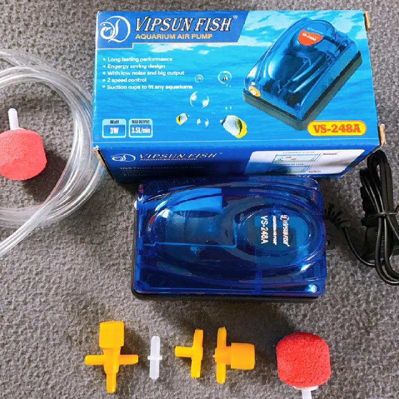 Máy Oxi VipSun 1 vòi 3w kèm 1m dây,1 viên sủi cho hồ cá cảnh tặng 1 van ngang, 2 chữ T, 1 nối, 1 viên sủi sơ cua