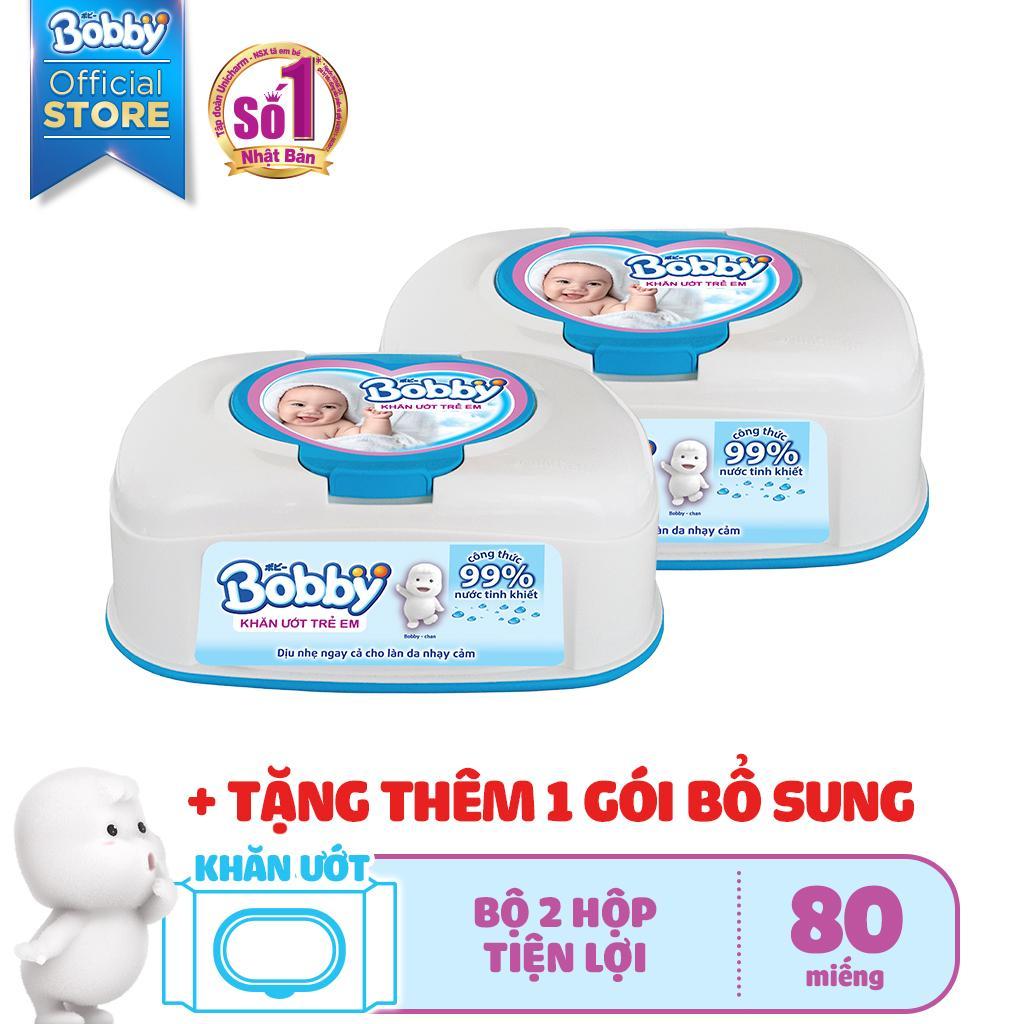 [Kèm Quà] Bộ 2 hộp khăn ướt trẻ em Bobby Care hộp tiện lợi 80 miếng - Tặng thêm 1 gói bổ sung