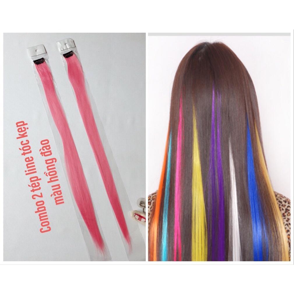 Combo 2 tep line tóc màu hồng đào- dài 50-60cm mỗi tép nặng 3d- mua 5 line tặng 1 line chính hãng