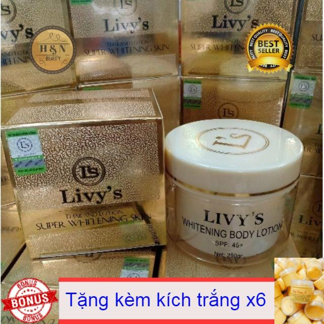 kem body dưỡng trắng da livy's thái lan 250gr ( tặng kèm kích trắng) tốt nhất