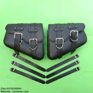 Cặp túi da treo hông xe máy chống nước Retro thumbnail