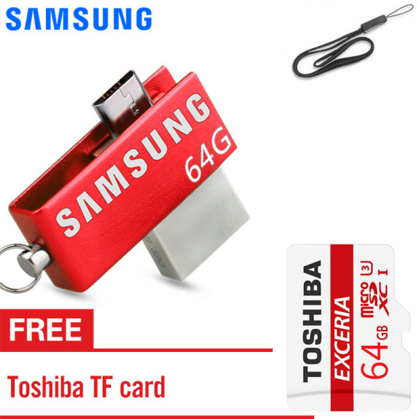 Giá SAMSUNG 64GB OTG USB Flash Drive Smartphone External Usb Stick Pen Drive Memory Stick U Disk for Android PC with free Memory card