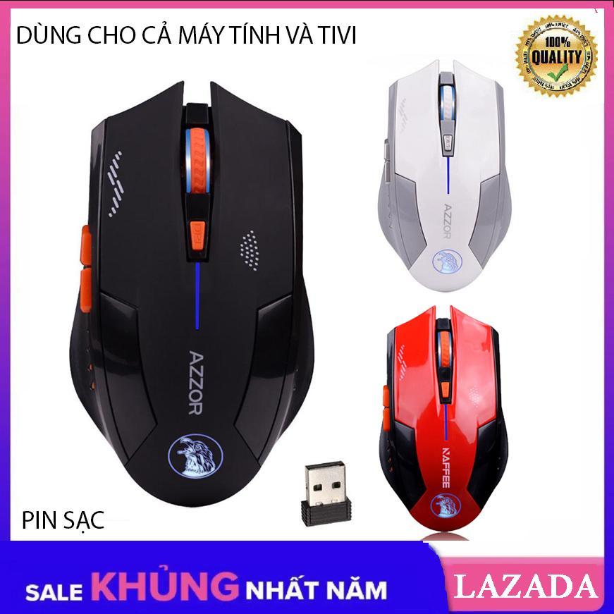 Giá [Tặng Lót 30K] Chuột không dây dùng pin sạc, Chuột dùng cho cả máy tính và Tivi AZZOR EAGLE phiên bản mới