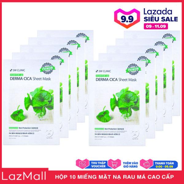 Hộp 10 Miếng Mặt nạ Rau Má Dưỡng Da Cao Cấp Hàn Quốc 3W Clinic Essential Up Derma Cica 25ml x10 cao cấp
