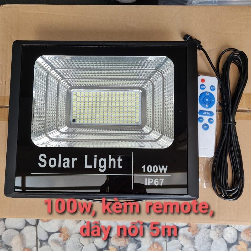 KHÔNG KÈM TẤM PIN - Đèn pha led Năng Lượng Mặt Trời công suất 100w có remote, kèm dây nối 5m, sài tư
