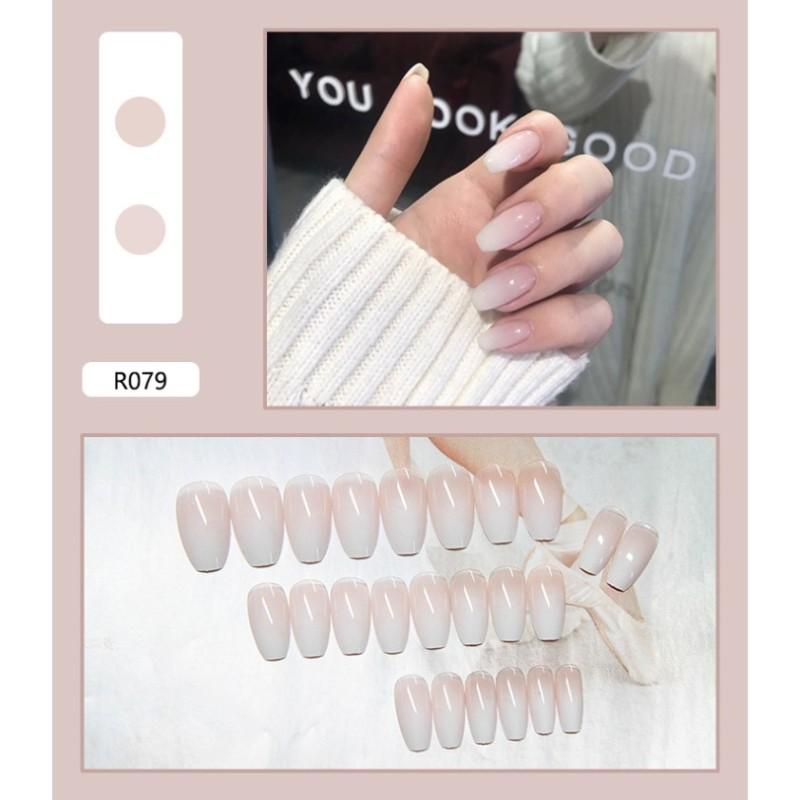 Móng Tay Giả Có Keo LCR079 Trắng Sữa - Nails 24 móng giả giá rẻ, tự dán móng tại nhà giá rẻ