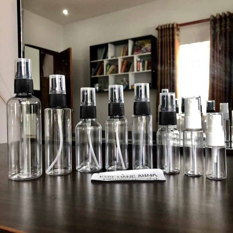 5 CHAI XỊT PHUN SƯƠNG 10ml / 20ml / 30ml / 50ml / 70ml / 100ml -  combo 5 Chai pet nhựa trong suốt xịt sương - chai chiết mỹ phẩm - Chai nhựa nhỏ trong suốt , chiết nước hoa , chai đựng nước rửa