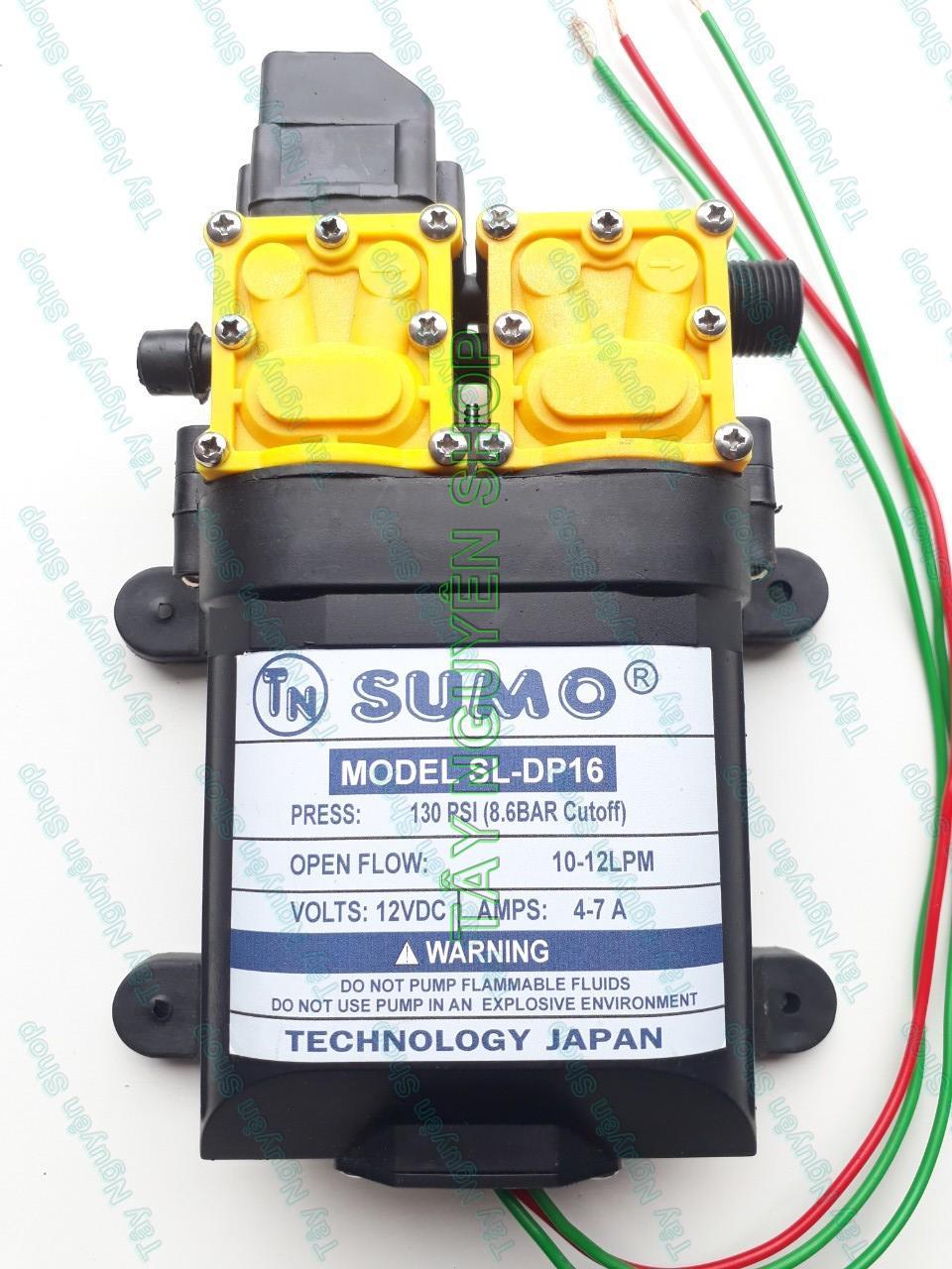 Máy bơm đôi SUMO tăng áp lực nước mini 12V 130W phun sương - rửa xe - Lưu lượng 12L/phút Tự động hút nước và Ngắt khi khóa Van sử dụng cho bộ tưới phun sương - Bơm tăng áp - MÁY rửa xe