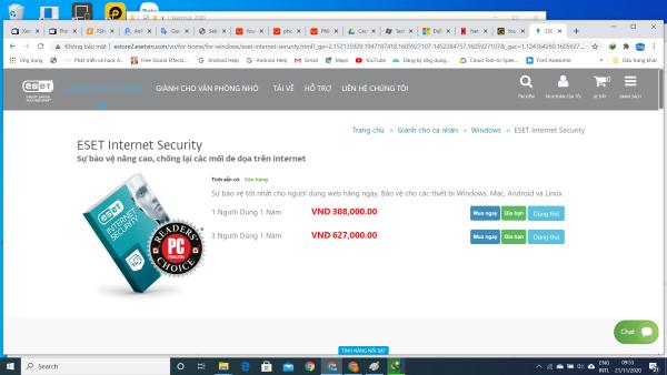 Bảng giá Phần Mềm Diệt Virus ESET Nod32 Bản Quyền 2 Năm Phong Vũ