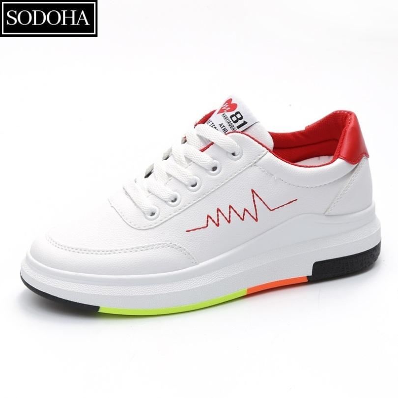 Giày Sneaker thể thao nữ SODOHA shop SN 36HQ89R - Trắng Phối Đỏ giá rẻ