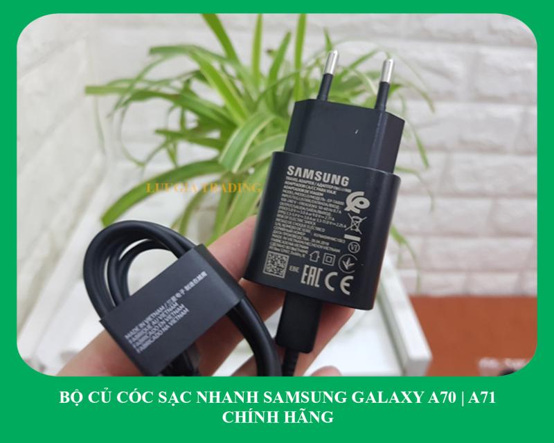 Bộ sạc siêu nhanh Samsung A71 (Cam kết sạc ZIN) (Adaptor 25W đen nhám + Cable chuẩn C to C) (Super Fast Charging)