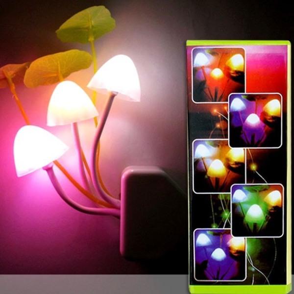 Bảng giá Đèn Ngủ Cảm Ứng Hình Nấm 3 Bông Cắm Điện Trực Tiếp Tự Động Đêm Sáng Ngày Tắt