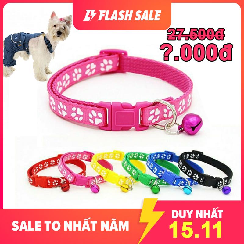 Vòng cổ họa tiết kèm chuông cho chó mèo Phụ kiện Long Vũ