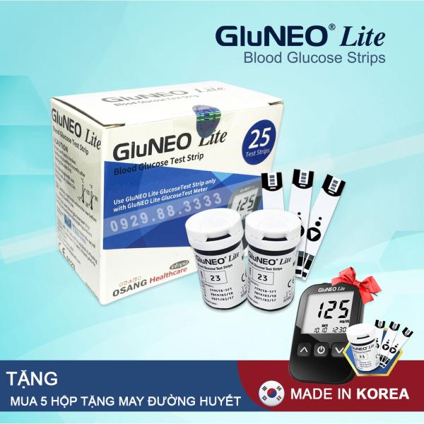 Nơi bán Que thử đường huyết GluNeo lite hộp 25 Test + Tặng túi 25 kim chích máu