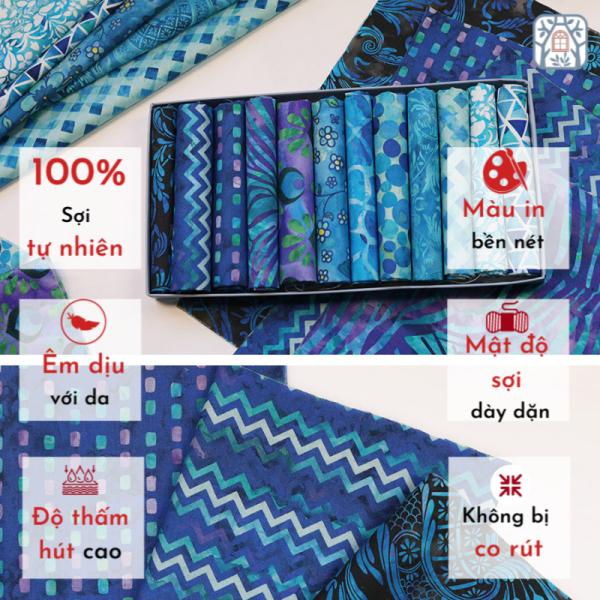 Set vải 12 tấm 🍒Chuanshui🍒 29 x 29cm x 12 tấm, màu xanh - vải đẹp handmade, quilt, may quần áo, túi, mũ cao cấp (❁´◡`❁)