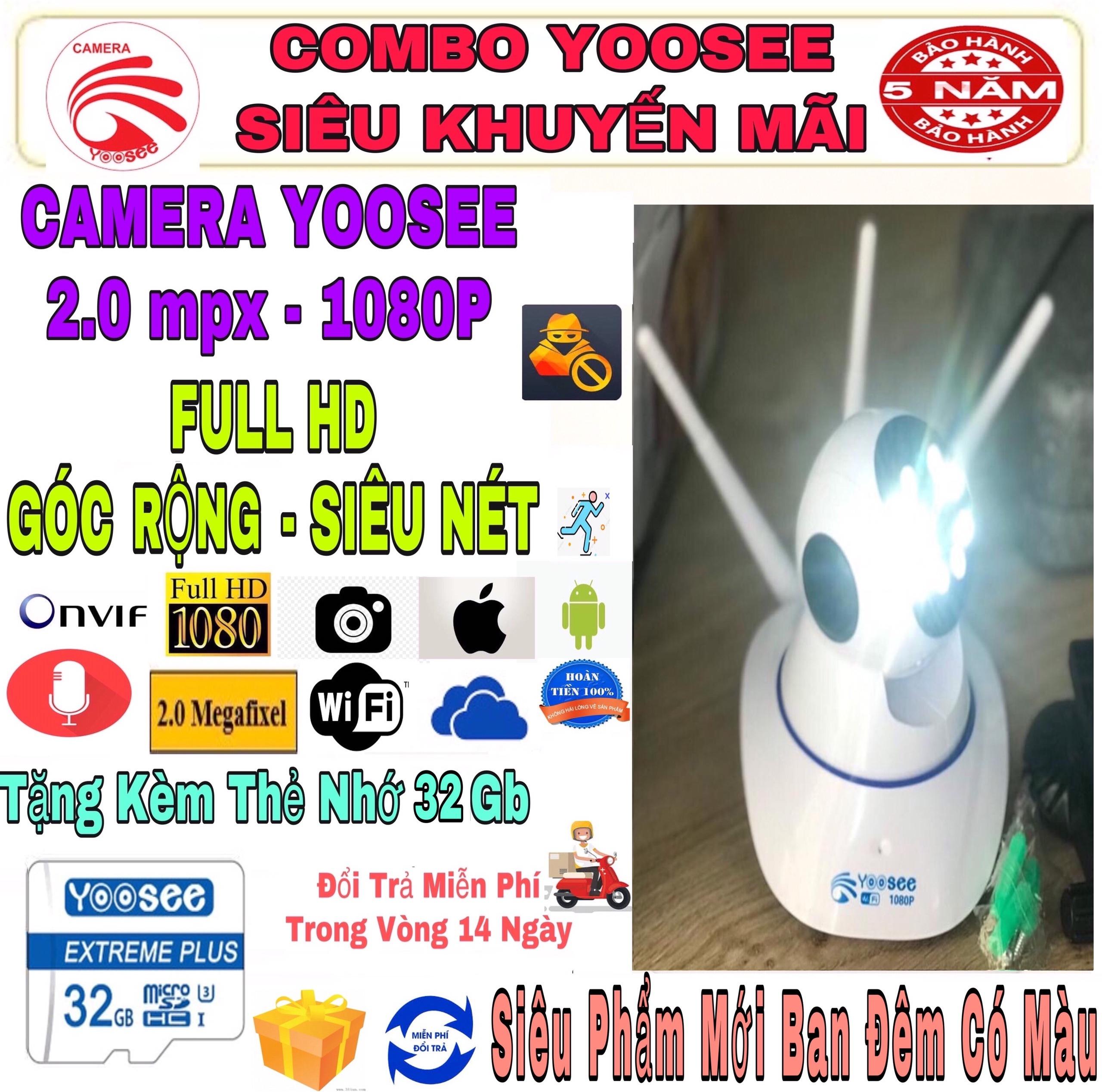 (KÈM Thẻ Nhớ SD YOOSEE 32 GB. BẢO HÀNH 5 Năm) Camera IP Wifi Yoosee 3 Râu xoay 360 độ, Siêu Phẩm Phiên Bản Mới Ban Đêm Có Màu, độ phân giải FULL HD 2.0MP 1920x1080p Không Dây, Camera trong nhà, Camera hồng ngoại, lưu trữ dữ liệu.