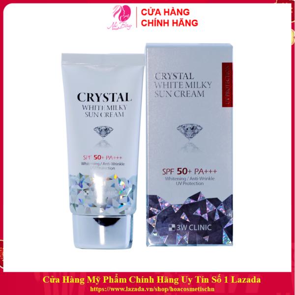 [Hàng Nhập Khẩu Hàn Quốc] Kem chống nắng - Xịt chống nắng kim cương 3W CLINIC CRYSTAL WHITE MILKY SUN CREAM SPF 50/ PA +++ Hàn Quốc 50ml