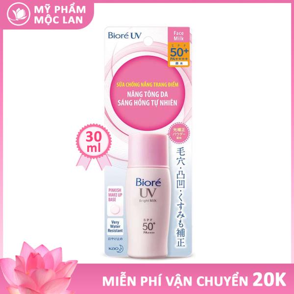 Kem chống nắng trang điểm Biore nâng tông da sáng hồng tự nhiên - Biore UV Bright Milk SPF50+/PA++++ 30ml - Mỹ phẩm Mộc Lan giá rẻ