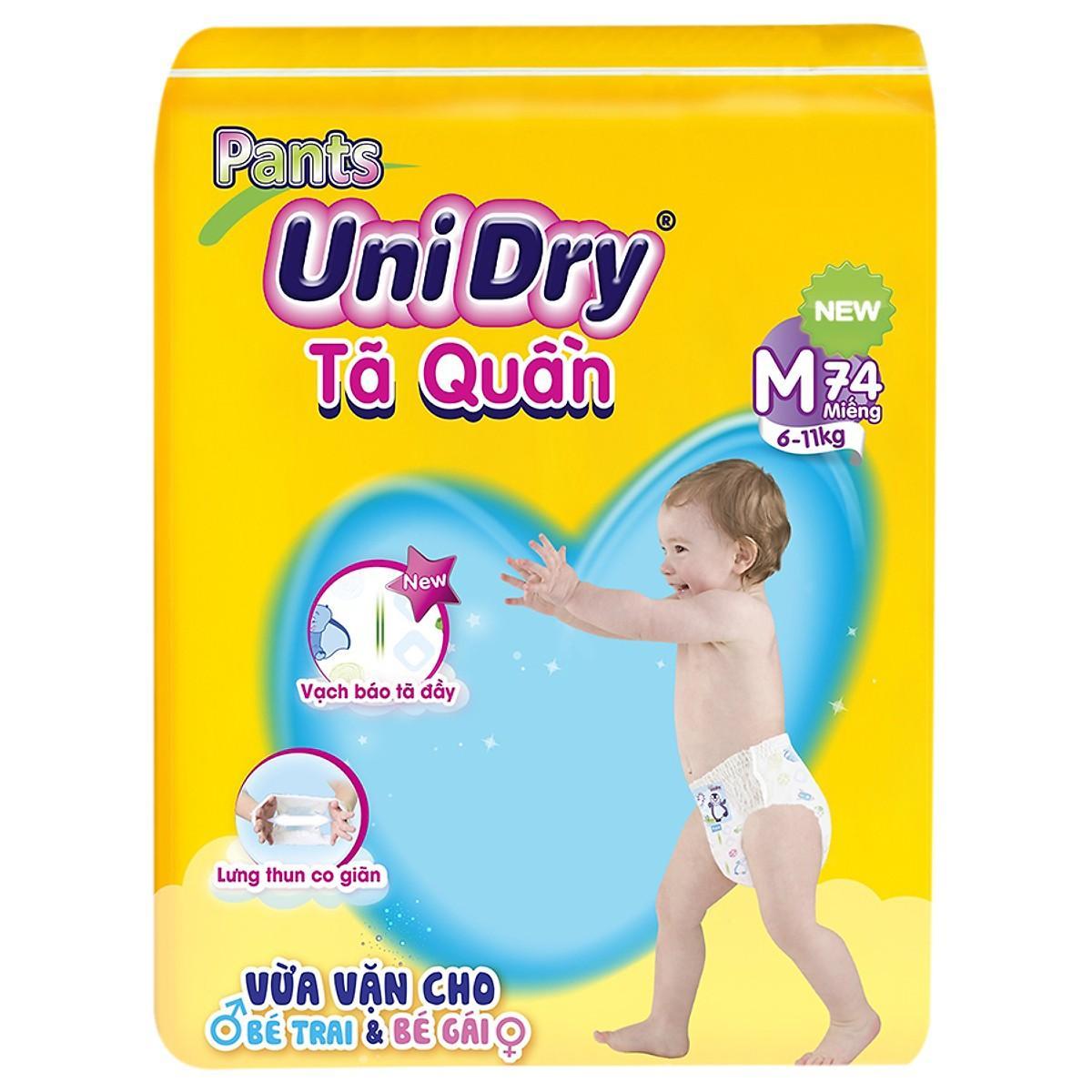 Tã / Bỉm quần Unidry size M74 (74 miếng) cho bé từ 6kg đến 11kg