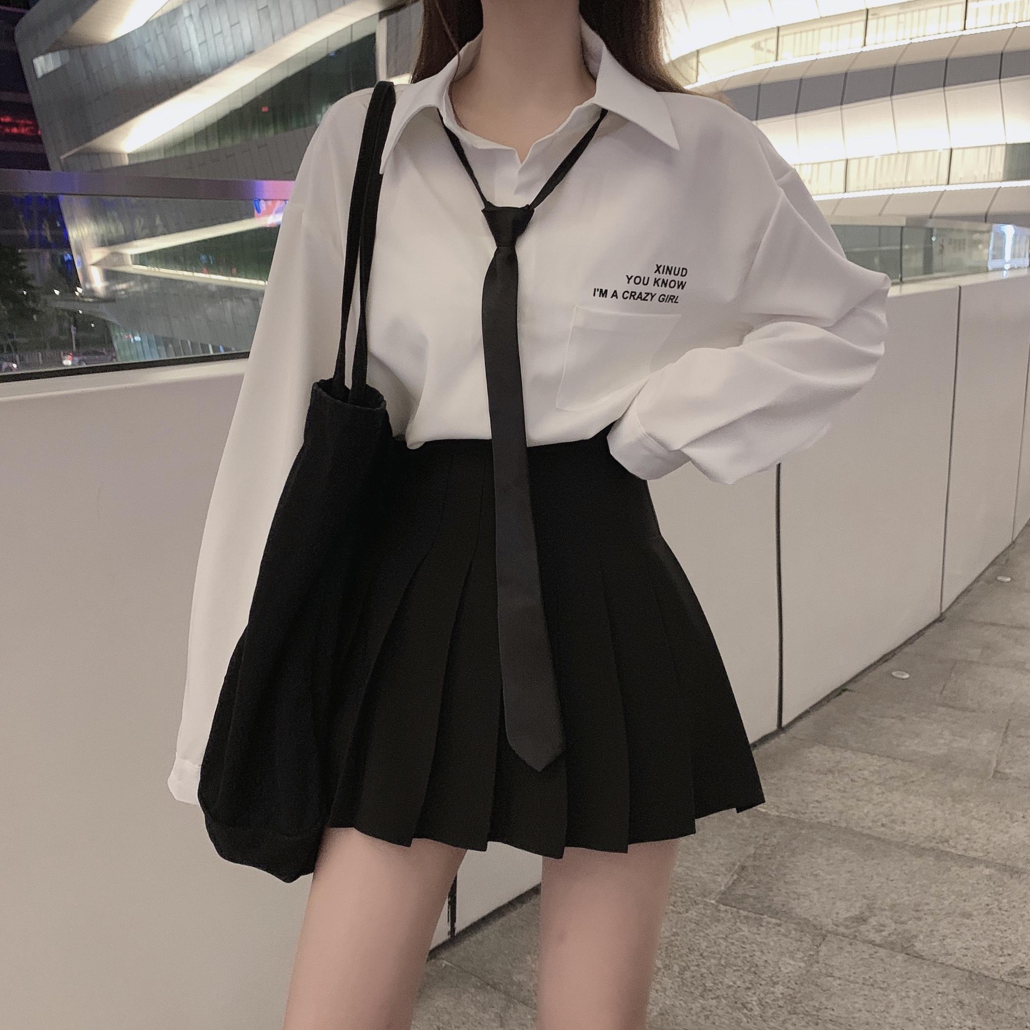 [TRỢ GIÁ] Set áo Sơ Mi Kèm Cà Vạt Và Chân Váy Xếp Ly Học Sinh Style Hàn Quốc Năng động, Trẻ Trung - áo Sơ Mi Trắng Trơn Giá Cực Cool