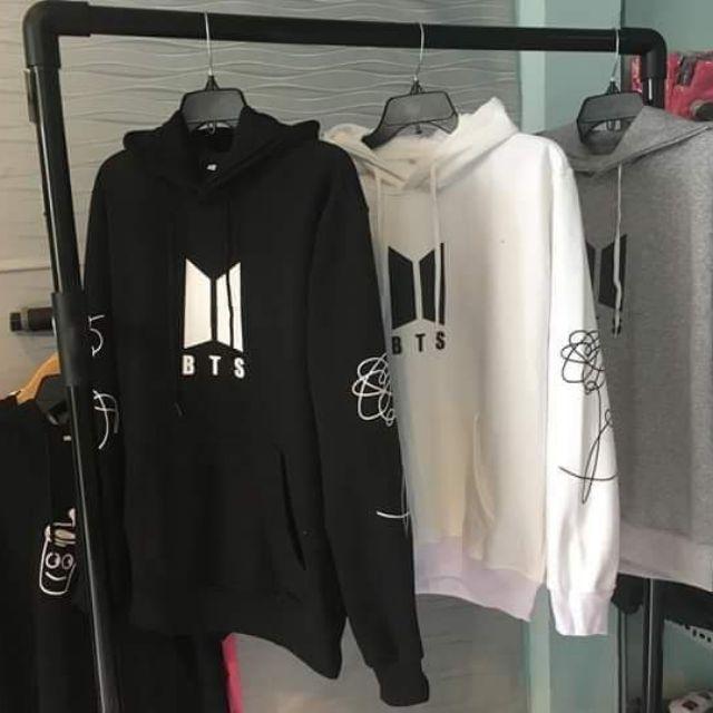 Áo hoodie BTS Unisex Thời Trang Hàn Quốc (Trắng, Đen và Xám) - 1