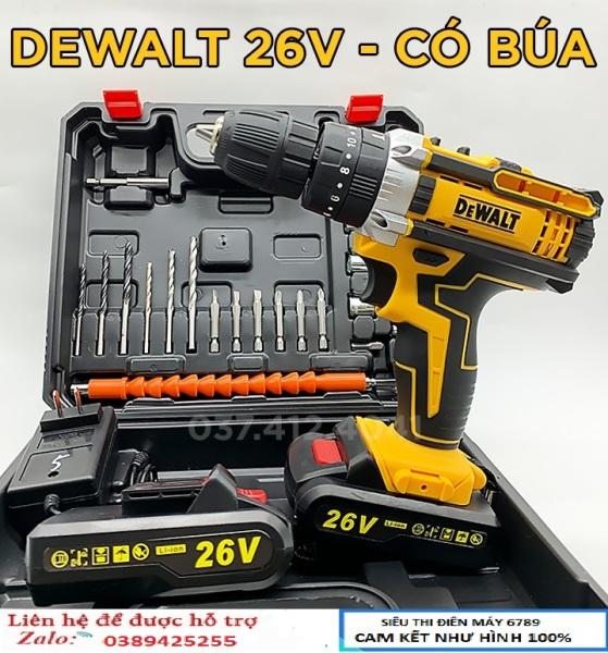 Máy khoan pin DEWALT 26v có búa , Máy khoan 2pin Tặng hộp phụ kiện 25 chi tiết