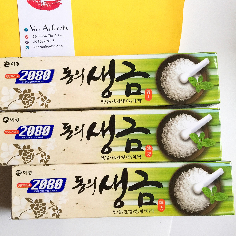 Kem đánh răng ngăn chặn tối đa các vi khuẩn gây hại DONGEUI tinh chất thảo mộc chứa muối Hàn Quốc 120g + Bàn chải đánh răng Sparkling Nano Hàn Quốc