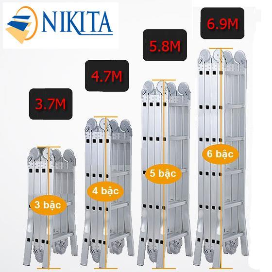Thang nhôm gấp 4 đoạn 7,0m Nikita Nhật Bản TGA69