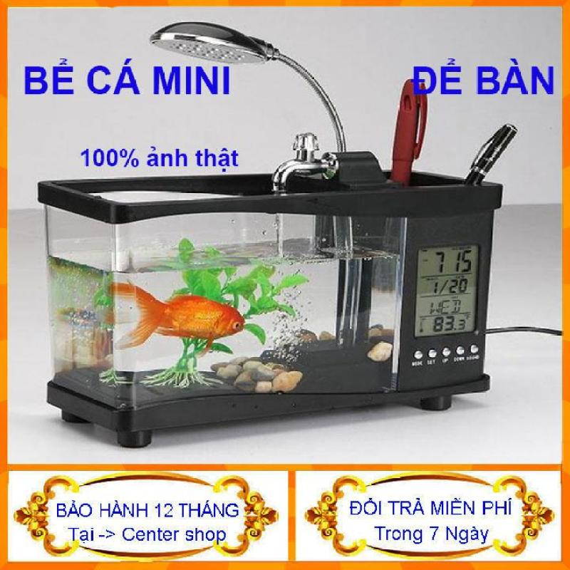 [Tặng Kèm Đá Và Cây] Bể Cá Mini Để Bàn Giá Rẻ Có Đèn- Be Ca Mini- Bể Cá Phong Thủy Mini sử dụng nguồn điện usb-Bể cá mini siêu đẹp để bàn làm việc đa năng có đèn led, đồng hồ, lọc nước, hộp đựng bút mầu đen hoặc trắng- cente