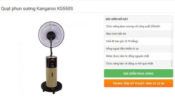 Quạt phun sương Kangaroo KG550S