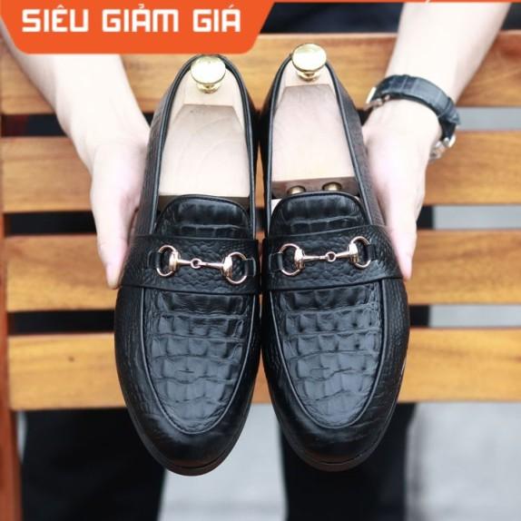 Giày Lười Nam Da Lì Đế Cao Su Đúc Mã L180 Đế Khâu Màu Đen giá rẻ