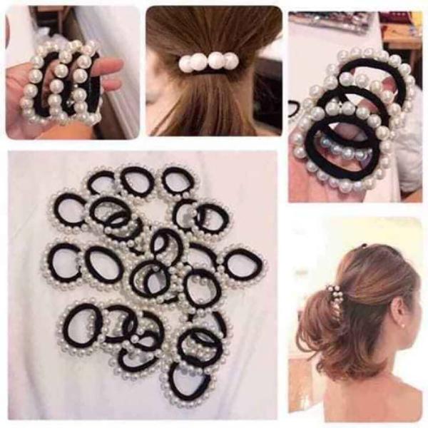 Combo 5 Dây buộc tóc đính 16 hạt ngọc trai xịn xò - Quality Goods - Phong cách sang trọng, dễ thương, chất liệu dây buộc cao cấp, mềm, co giãn tốt, không kén tóc - Chun buộc tóc, thun buộc tóc, dây thun cột tóc cao cấp