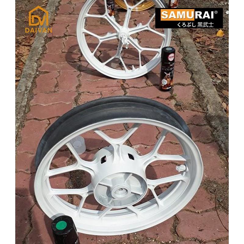 Combo 4 chai Sơn Samurai màu trắng 102 đầy đủ sơn cặp mâm xe máy