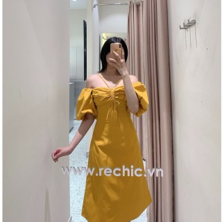 Đầm Mina Màu Vàng Dây Rút Rechic Tay Phồng dáng dài trẻ trung thời thượng thumbnail