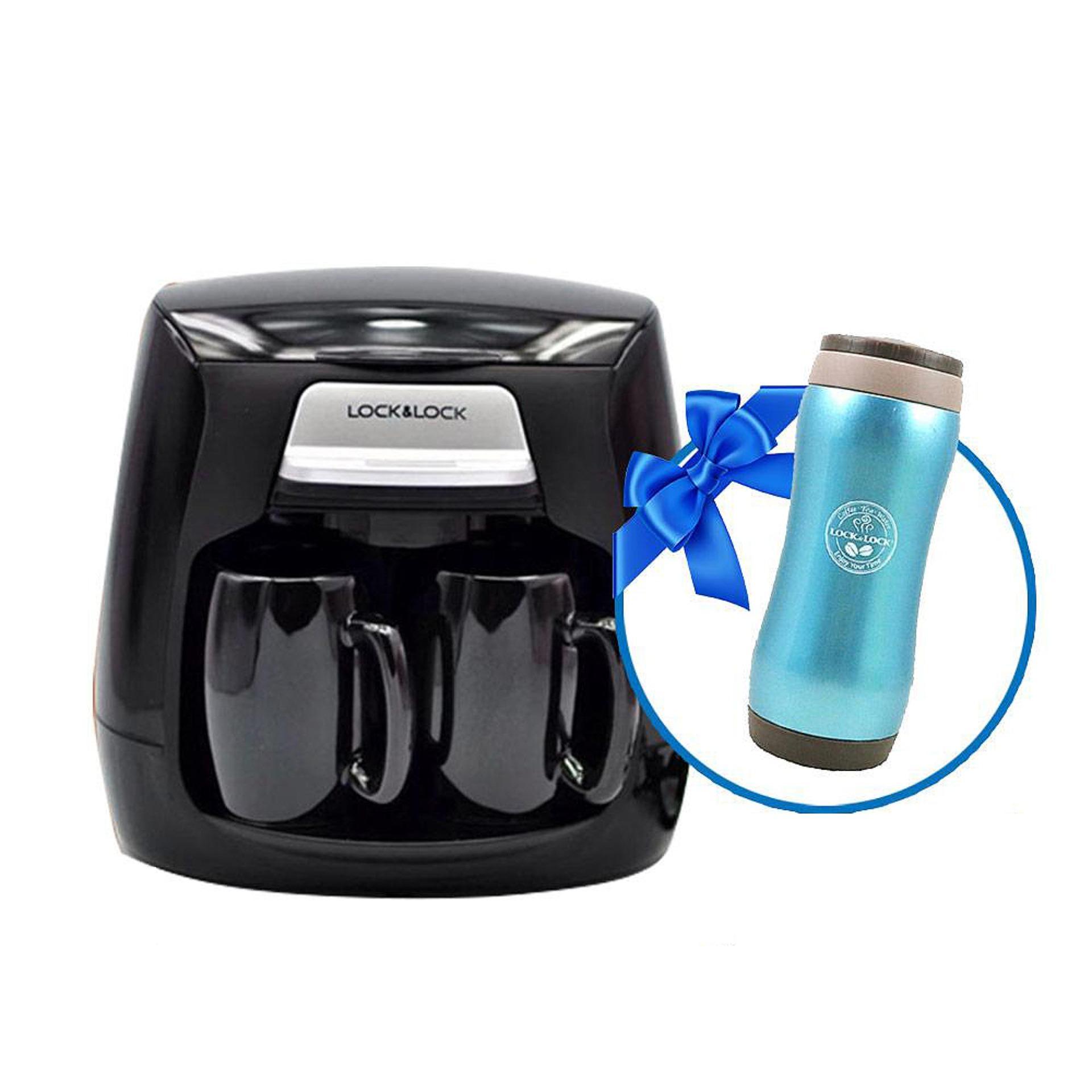 Máy pha cà phê Lock&Lock ELCM-202_LHC801B , 0.3L (Tặng bình giữ nhiệt Grip tumbler 370ml ml, màu ngẫu nhiên)