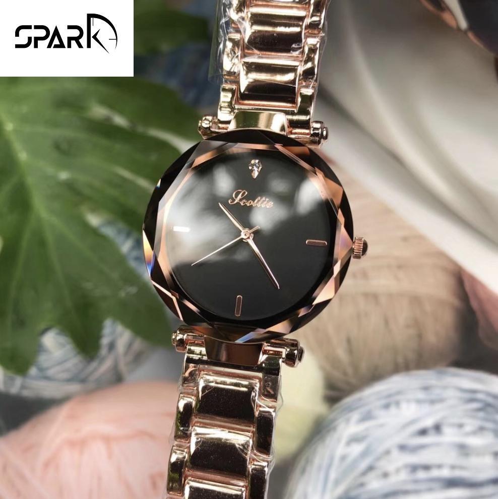 Đồng hồ nữ Scottie dây kim loại mặt viền kính vát kim cương + Tặng hộp đồng hồ sang trọng + Pin bán chạy